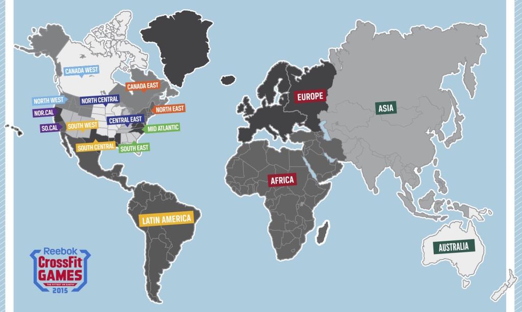 CrossFit Games 2015 mapa regiony